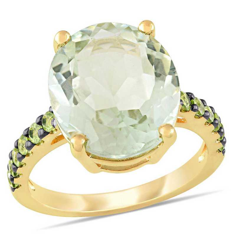 Green Amethyst and Peridot Cocktail Ring in Yellow Sterling Silver