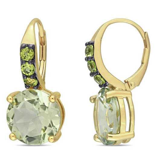 BAL000970: Green Amethyst/Peridot Earrings in Yelow SS