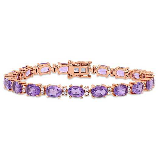 BAL000972: Amethyst/Wht Sapphire Tennis Bracelet in Rose Plated SS