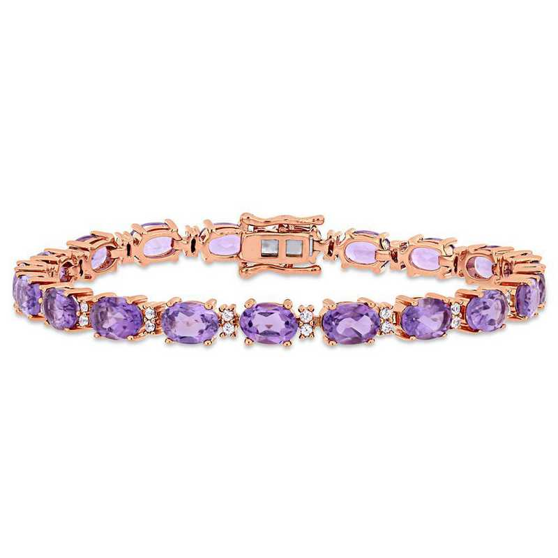 BAL000972: Amethyst/Wht Sapphire Tennis Bracelet in Rose Plated SS