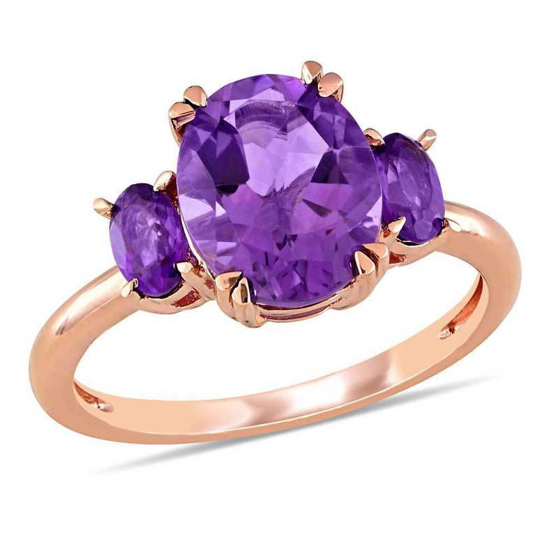 Amethyst 3-Stone Ring in 14k Rose Gold