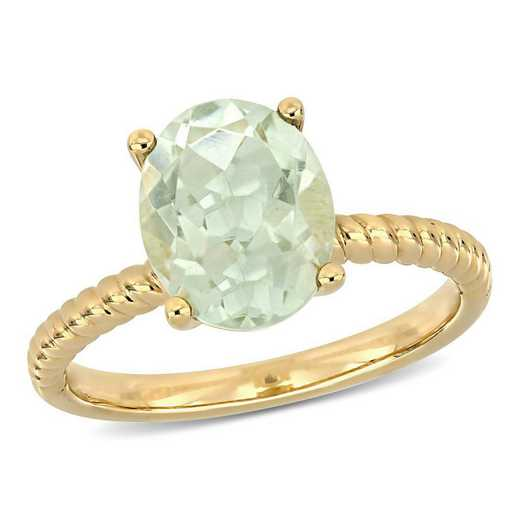 Green Amethyst Solitaire Twist Ring in 14k Yellow Gold