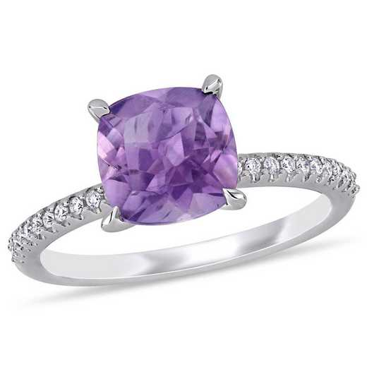 Amethyst and 1/10 CT TW Diamond Ring in 14k White Gold