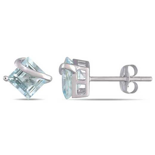 BAL000978: Square Aquamarine Swirl Stud Earrings in 10k Wht Gold