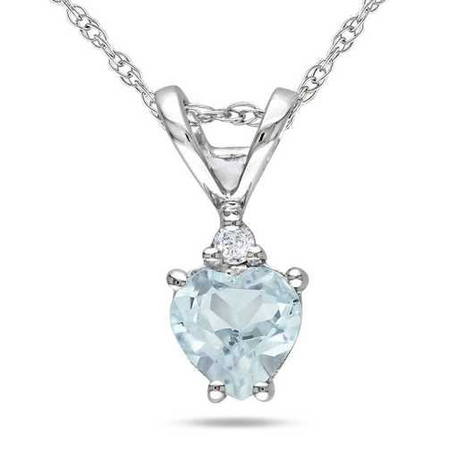 BAL000979: Aquamarine/Diamond Accent Heart Pendant/Chain/10k Wht Gld