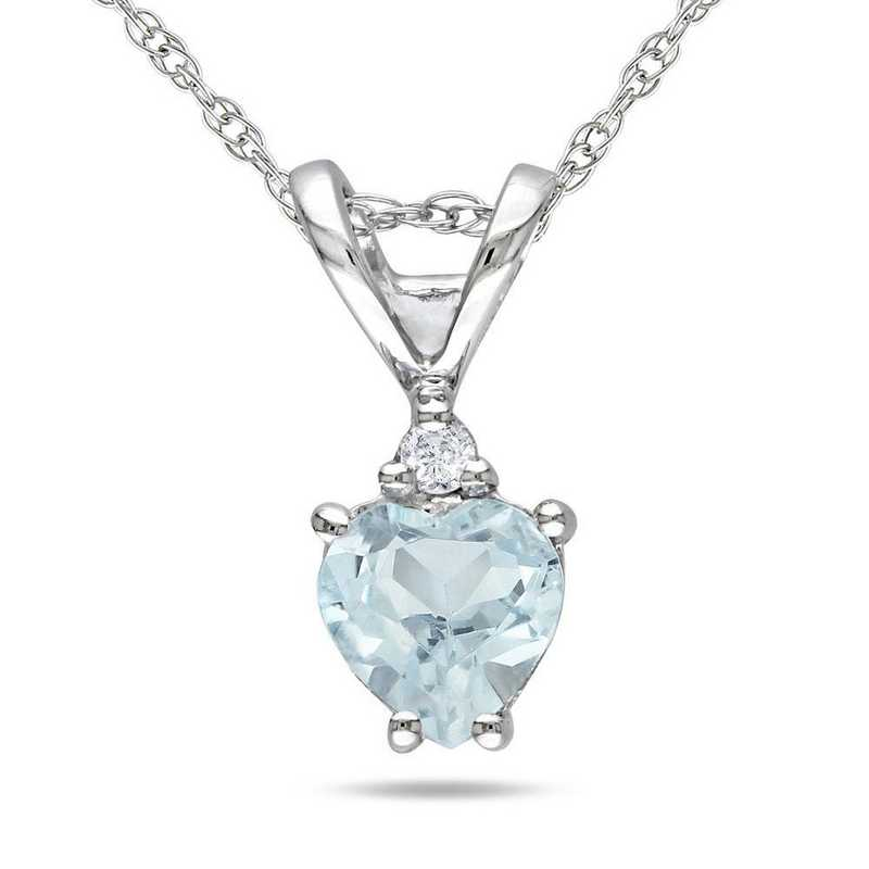 BAL000979: Aquamarine/Diamond Accent Heart Pendant/Chain/10k Wht Gld