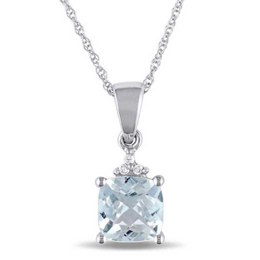 BAL000980: Aquamarine/Diamond Accent Drop Necklace/10k Wht Gld