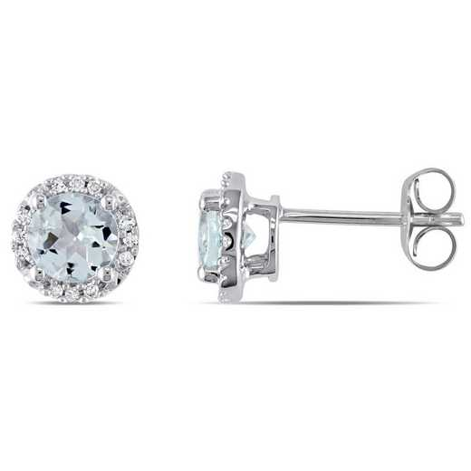 BAL000981: Aquamarine/Diamond Halo Stud Earrings in 10k Wht Gold