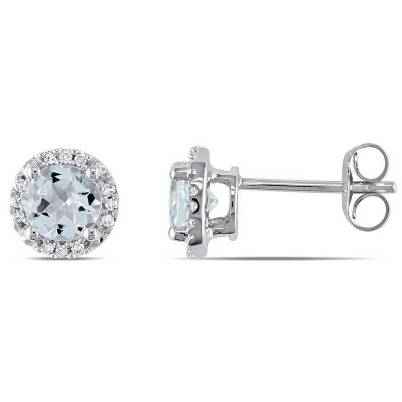 BAL000981: Aquamarine/Diamond Halo Stud Earrings in 10k Wht Gold