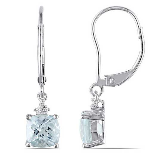 BAL000982: Aquamarine/Diamond Accent Earrings in 10k Wht Gold
