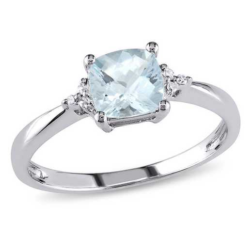 Aquamarine and Diamond Accent Ring in 10k White Gold