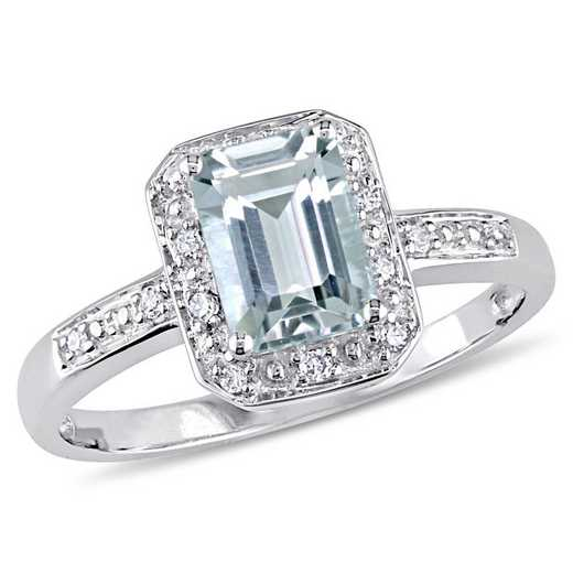 Emerald Cut Aquamarine and Diamond Accent Ring in 10k White Gold