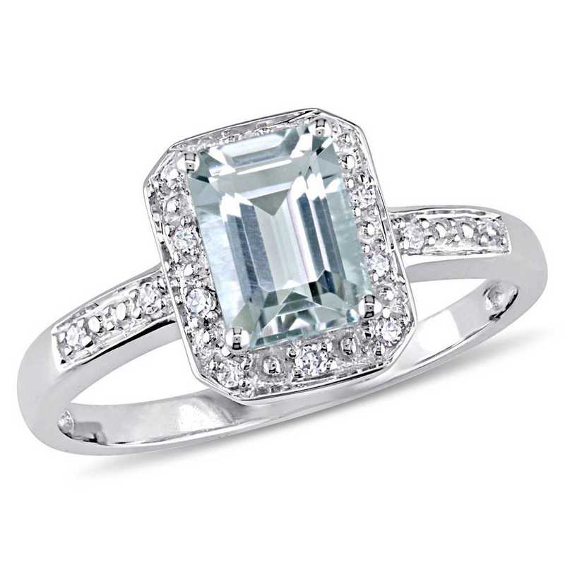 Emerald Cut Aquamarine and Diamond Accent Ring in 10k White Gold
