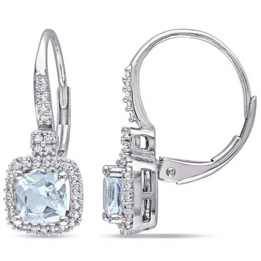 BAL000986: Aquamarine/1/5 CT TW Diamond Halo Earrings in 10k Wht Gold