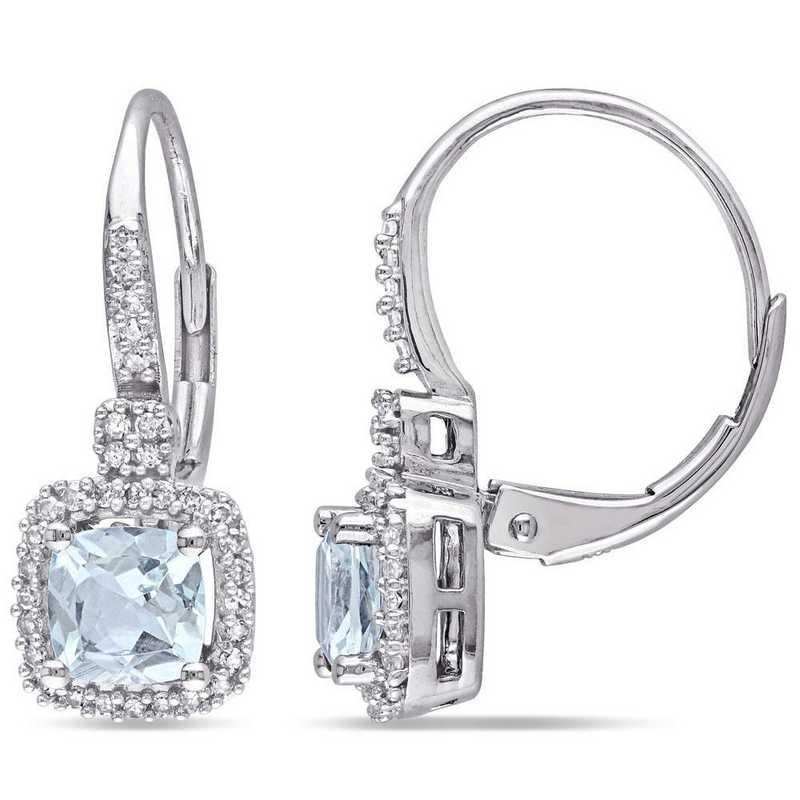 BAL000986: Aquamarine/1/5 CT TW Diamond Halo Earrings in 10k Wht Gold