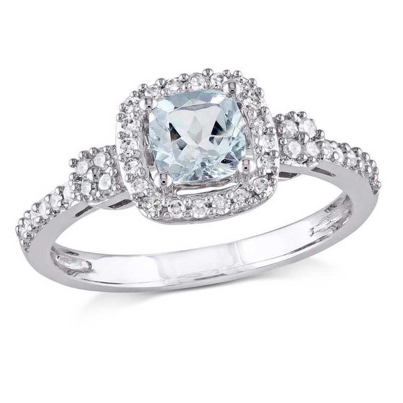Cushion Cut Aquamarine and 1/6 CT TW Diamond Halo Ring in 10k White Gold