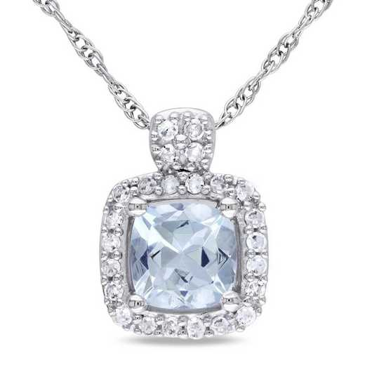 BAL000988: Aquamarine/1/10 CT TW Diamond Halo Necklace in 10k Wht Gold