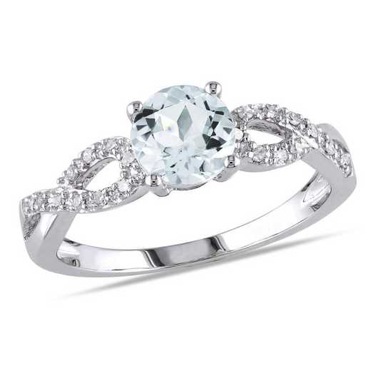 Aquamarine and 1/10 CT TW Diamond Infinity Ring in 10k White Gold