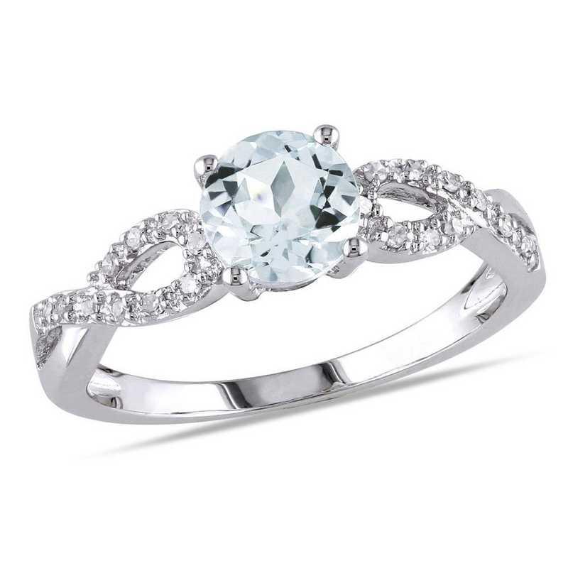 Aquamarine and 1/10 CT TW Diamond Infinity Ring in 10k White Gold
