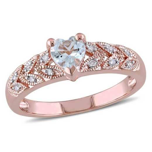 Aquamarine and Diamond Accent Heart Vintage Ring in Rose Plated Sterling Silver