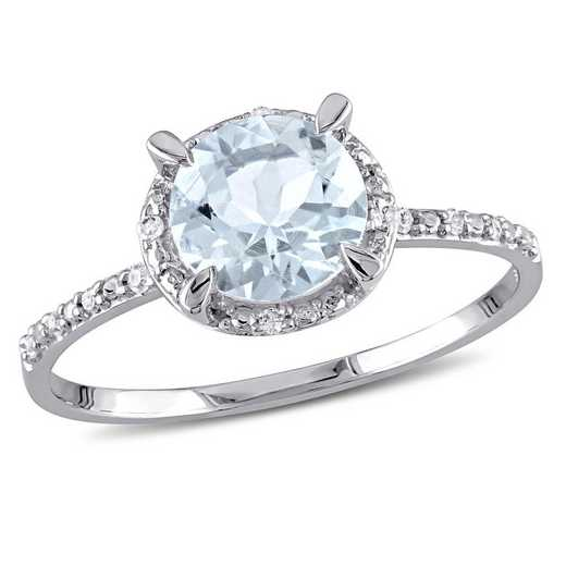 Aquamarine and Diamond Accent Halo Ring in 10k White Gold
