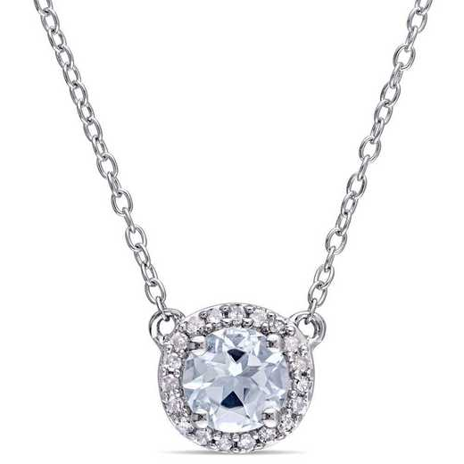 BAL000993: Aquamarine/1/10 CT TW Diamond Halo Necklace in SS