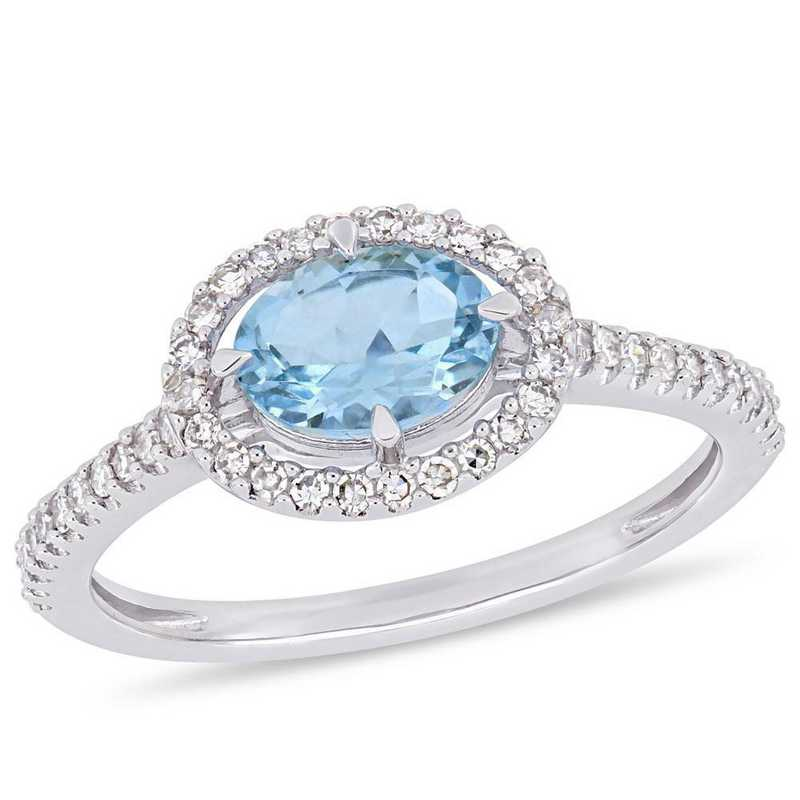 Aquamarine and 1/4 CT TW Diamond Halo Ring in 10k White Gold