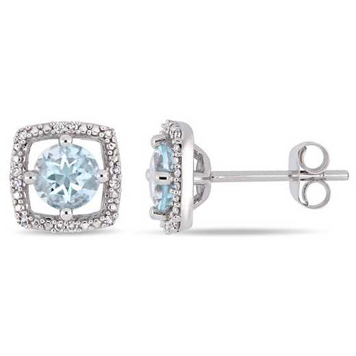 BAL000995: Aquamarine/Diamond Square Halo Stud Earrings in 10k Wht Gold