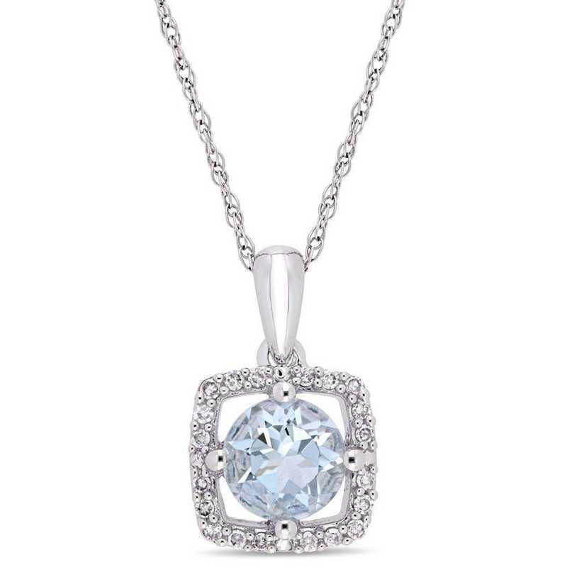 BAL000996: Aquamarine/Diamond Square Halo Pendant/Chain in 10k Wht Gold