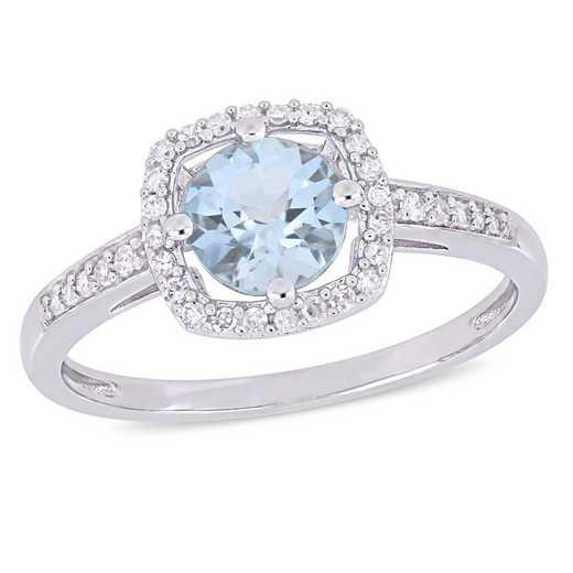 Aquamarine and 1/7 CT TW Diamond Square Halo Ring in 10k White Gold