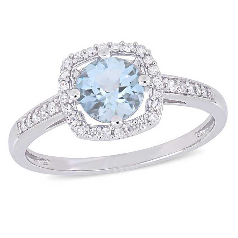 Aquamarine and 1/7 CT TW Diamond Square Halo Ring in 10k White Gold