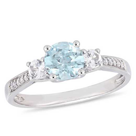Aquamarine and Created White Sapphire 3-Stone Ring with Diamond Accents in 10k White Gold