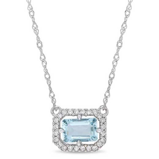 BAL000999: Aquamarine/1/10 CT TW Diamond Necklace in 14k Wht Gold