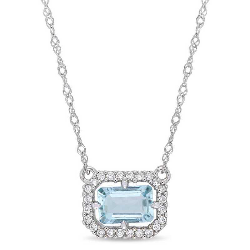 BAL000999: Aquamarine/1/10 CT TW Diamond Necklace in 14k Wht Gold