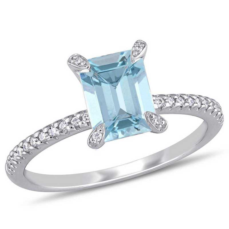 Aquamarine and 1/10 CT TW Diamond Ring in 14k White Gold