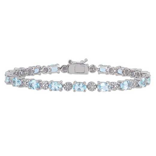 BAL001002: Aquamarine/Diamond Accent Tennis Bracelet in SS