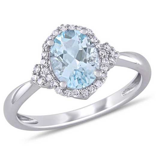 Aquamarine and 1/8 CT TW Diamond Halo Vintage Ring in 10k White Gold
