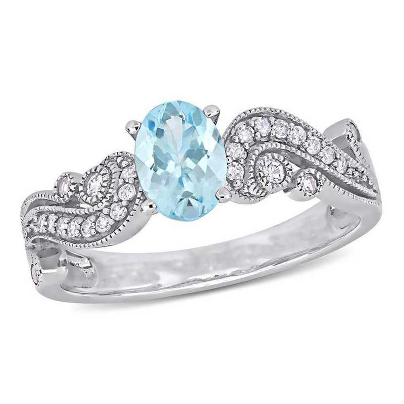 Aquamarine White Sapphire and Diamond Accent Filigree Ring in 10k White Gold