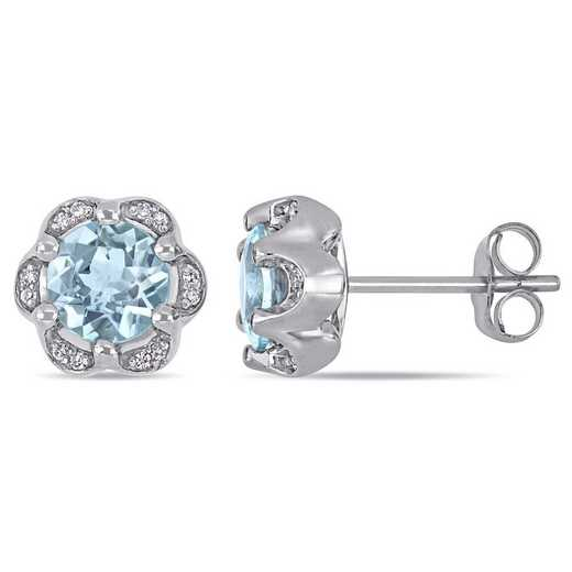 BAL001006: Aquamarine/Diamond Accent Flower Stud Earrings/14k Wht Gold