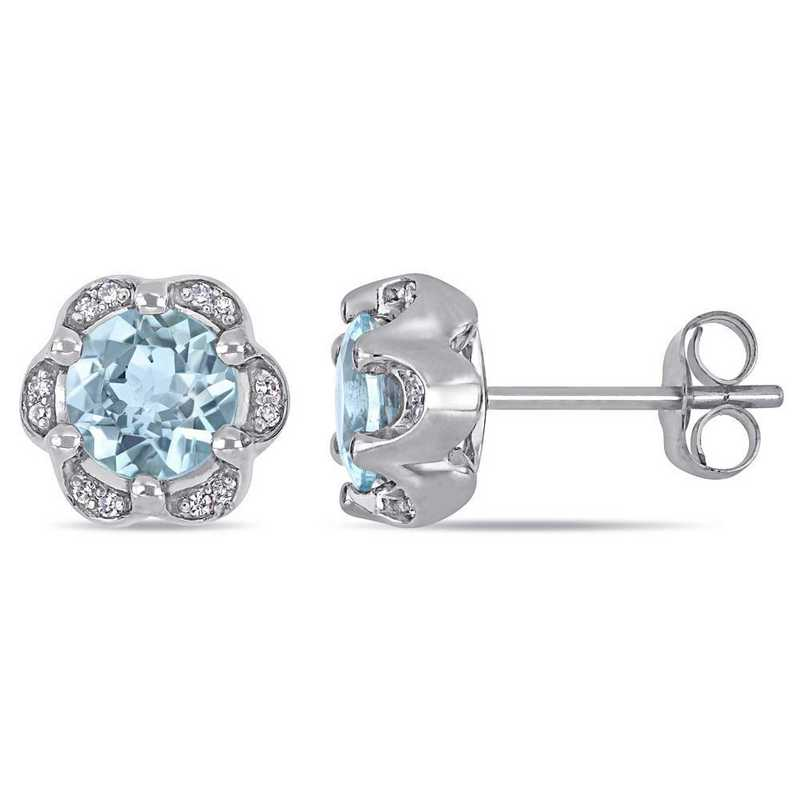 BAL001006: Aquamarine/Diamond Accent Flower Stud Earrings/14k Wht Gold