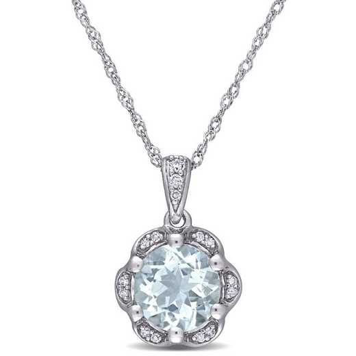 BAL001007: Aquamarin/Diamond/Accent Flower Necklace in 14k Wht Gold