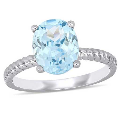 Aquamarine Solitaire Twist Ring in 14k White Gold
