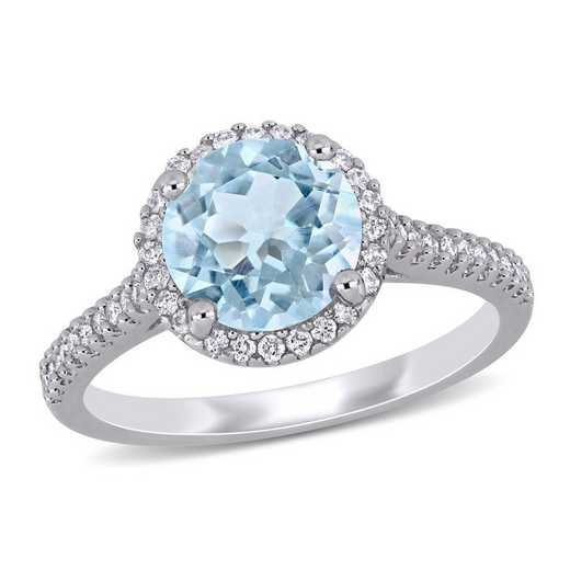Aquamarine and 1/4 CT TW Diamond Halo Ring in 14k White Gold