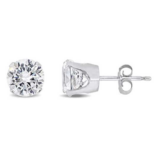 BAL001010: Created Whte Sapphire Solitaire Stud Earrings in 10k Wht Gld