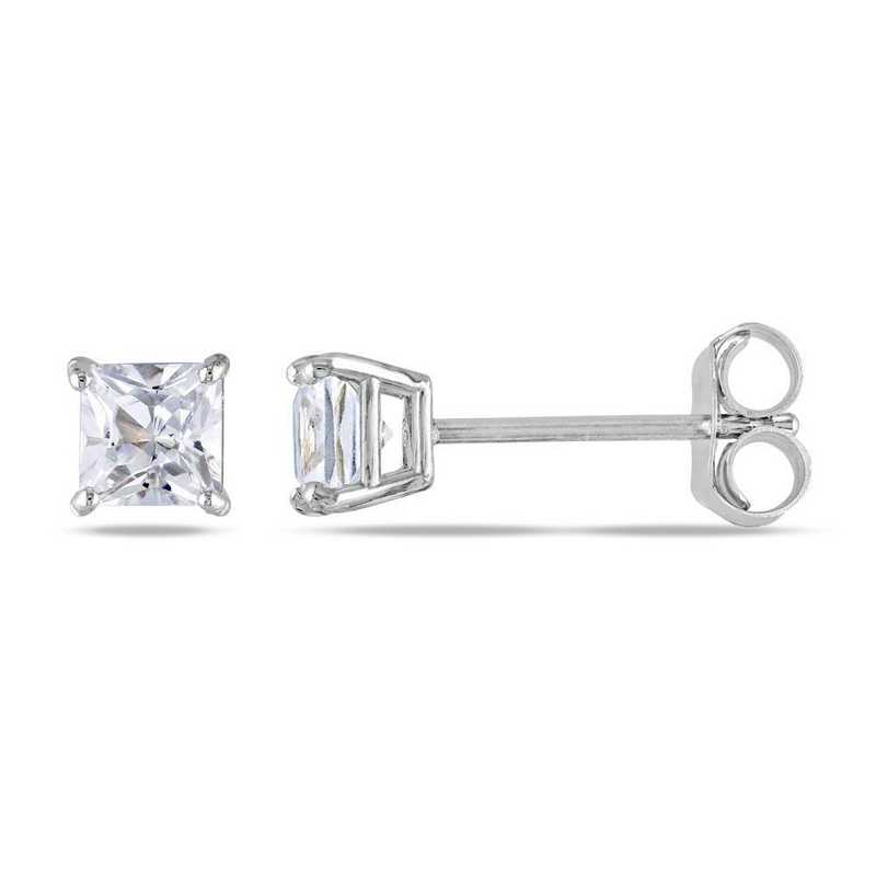 BAL001011: Square Cut Created Wht Sapphire Stud Earrings in 10k Wht Gld