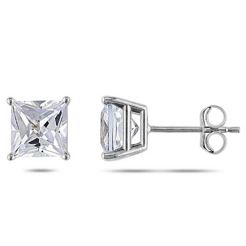 BAL001012: Square Cut Created Wht Sapphire Stud Earrings in 10k Wht Gld