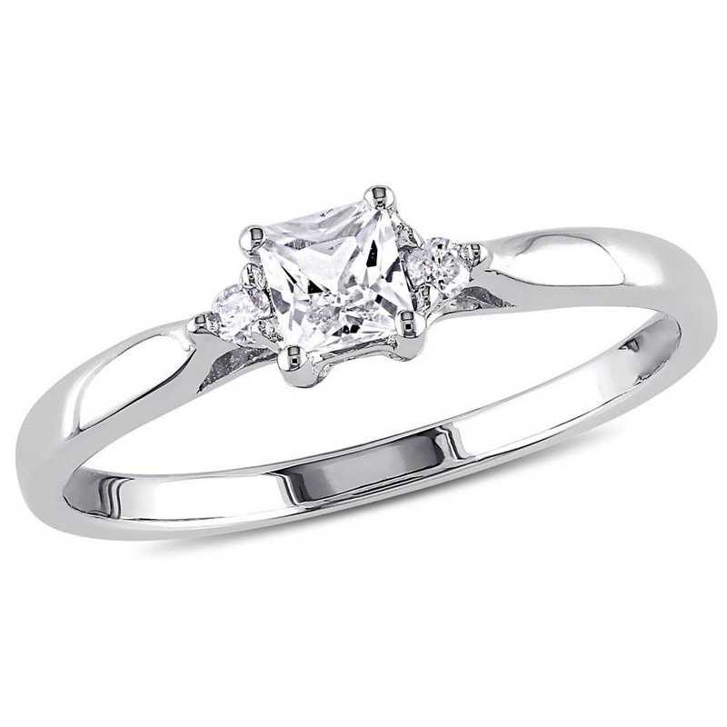 Princess Cut Created White Sapphire and Diamond Accent Ring in Sterling Silver