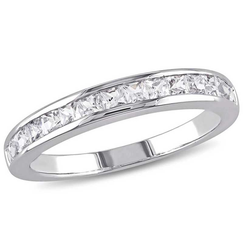 Created White Sapphire Channel Set Band Ring in Sterling Silver