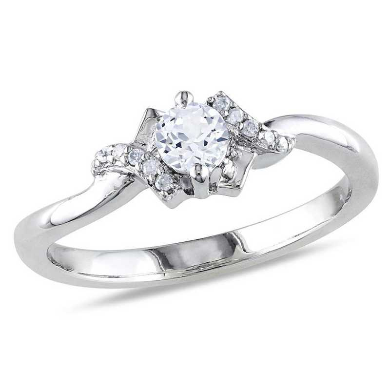 Created White Sapphire and Diamond Accent Crisscross Ring in Sterling Silver