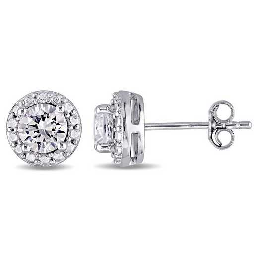 BAL001022: Created Wht Sapphire Halo Stud Earrings in SS